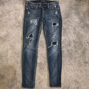 Silver low-rise distressed Tuesday jeans